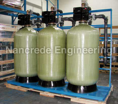 Industrial water filter system - fiberglass triple filter