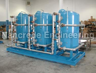 Industrial water filter system - triple 54 inch skid mounted